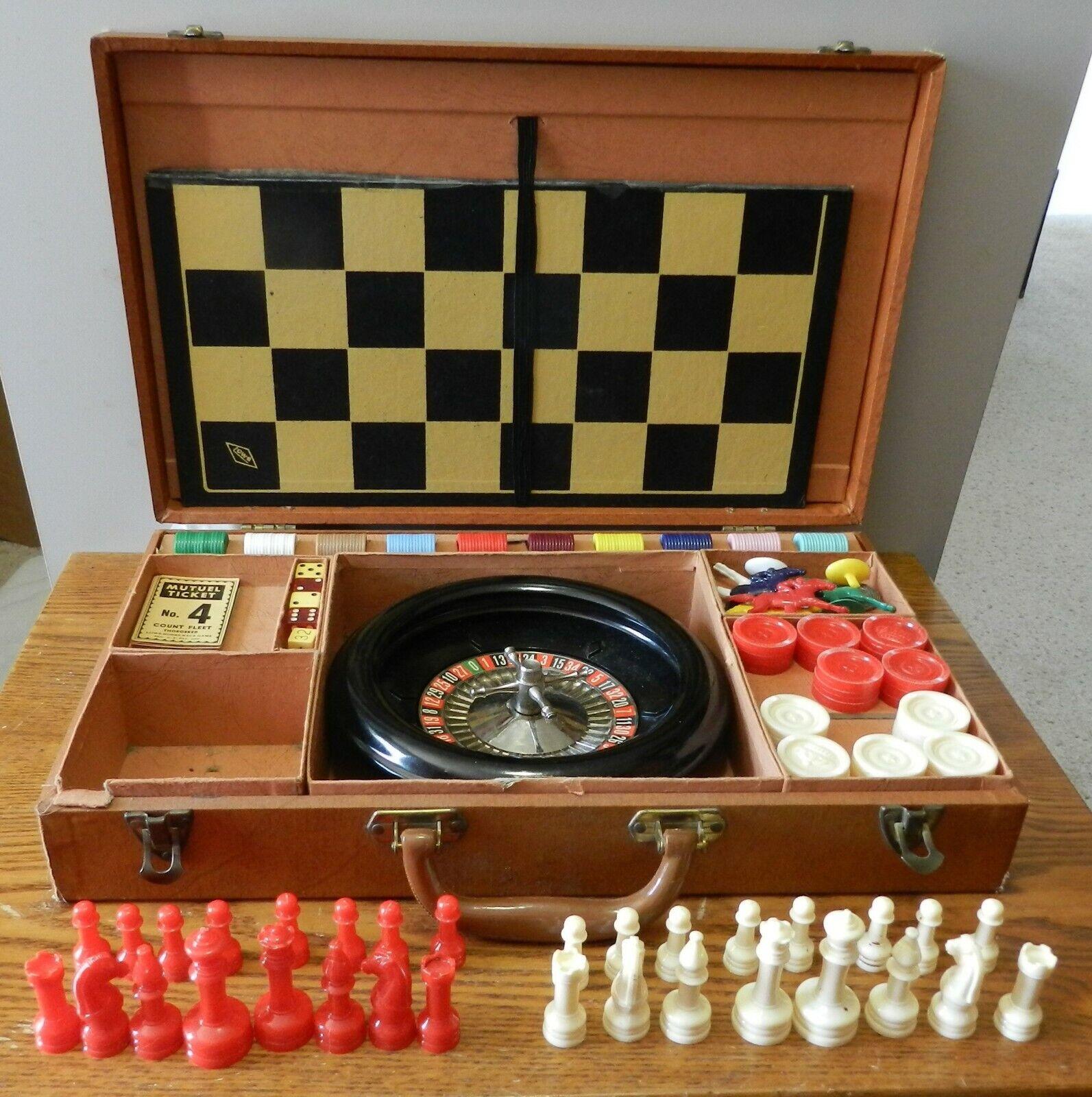 1950's Lowe Company Ny Ruleta Rueda Cuadros Racing Vintage Chess Set de Viaje