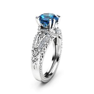 2ct Round bluee Sapphire Engagement Ring 14k White gold Finish Filigree Vintage