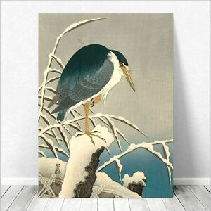 "Beautiful Japanese Bird Art ~ CANVAS PRINT 24x16"" ~ Heron In Snow Koson"