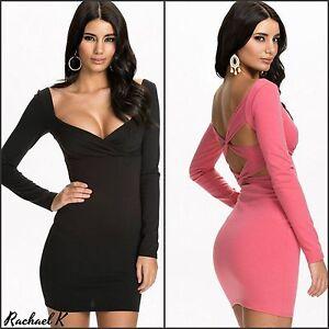 Sexy-New-Women-s-Plus-Size-Long-Sleeve-Mini-Criss-Cross-Evening-Party-Dress-8-18