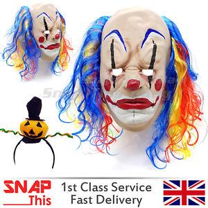 Maschera-da-clown-Capelli-Rosso-IT-COSPLAY-FACCIA-Lattice-Horror-Adulto