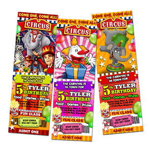 Image Is Loading CIRCUS CARNIVAL CLOWN BIRTHDAY PARTY INVITATION TICKET Custom