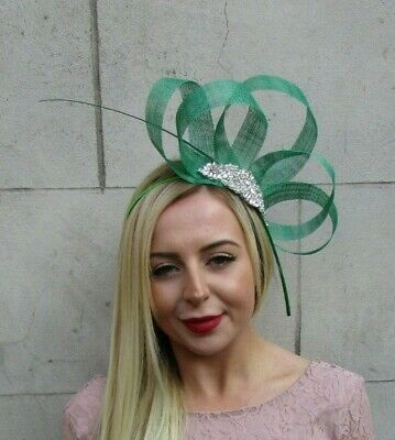 Navy Blue Bottle Green Feather Fascinator Sinamay Silver Wedding Races Hair 6367
