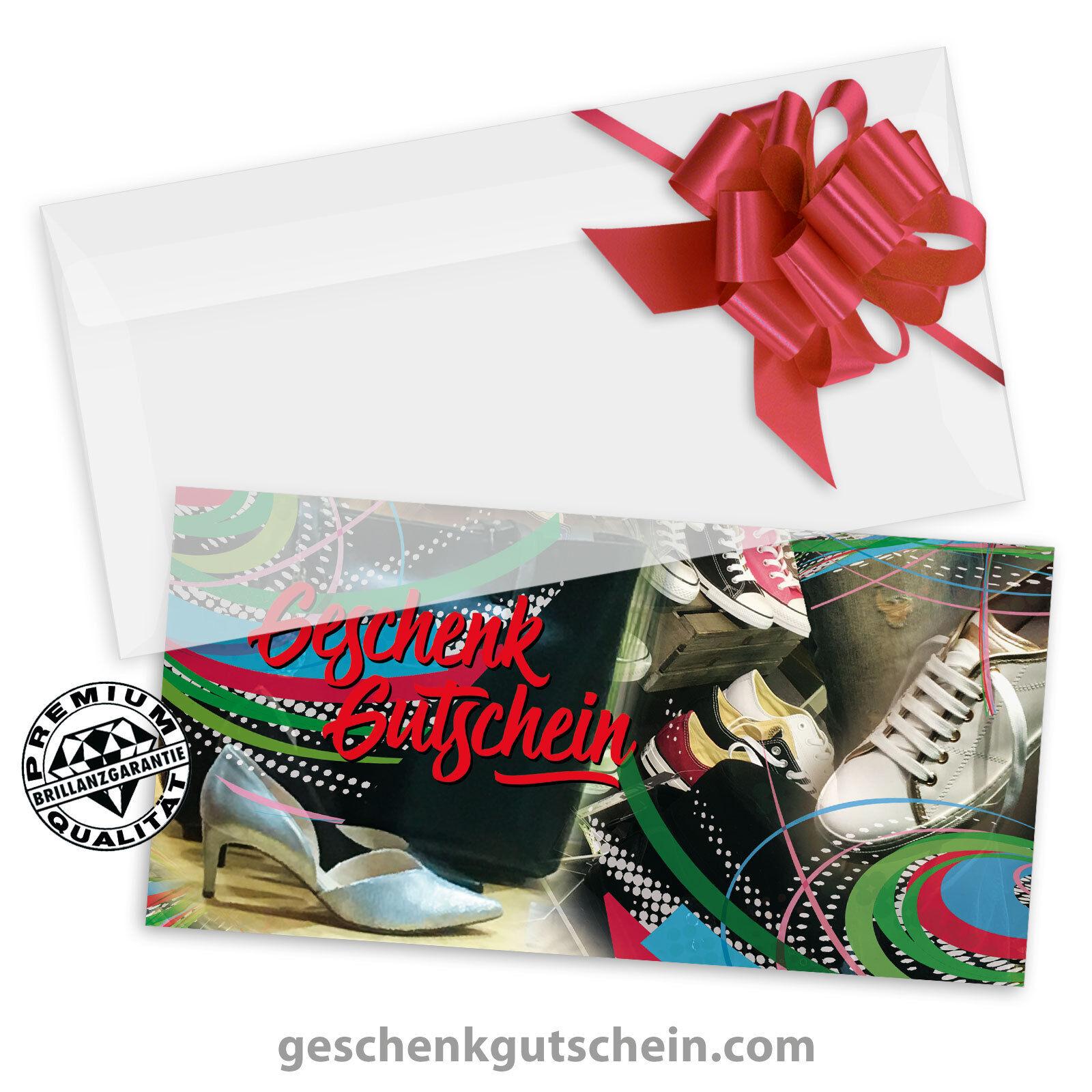 Gutscheinkarten  DINlang  mit KuGrüns und Schleifen für Schuhfachhandel SH9232