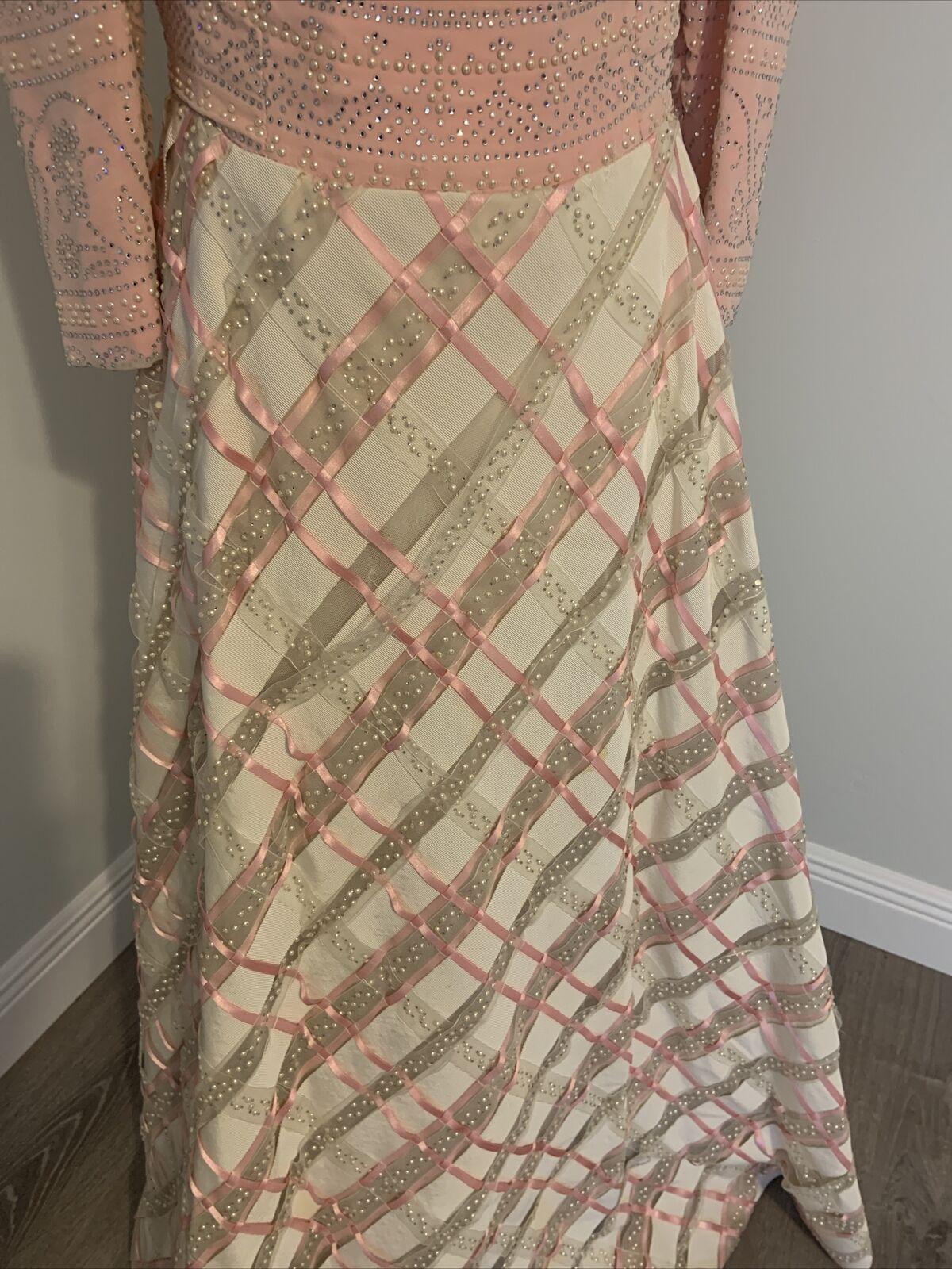 Arnold Scaasi Vtg Couture Pink Rhinestone Bodice/… - image 3