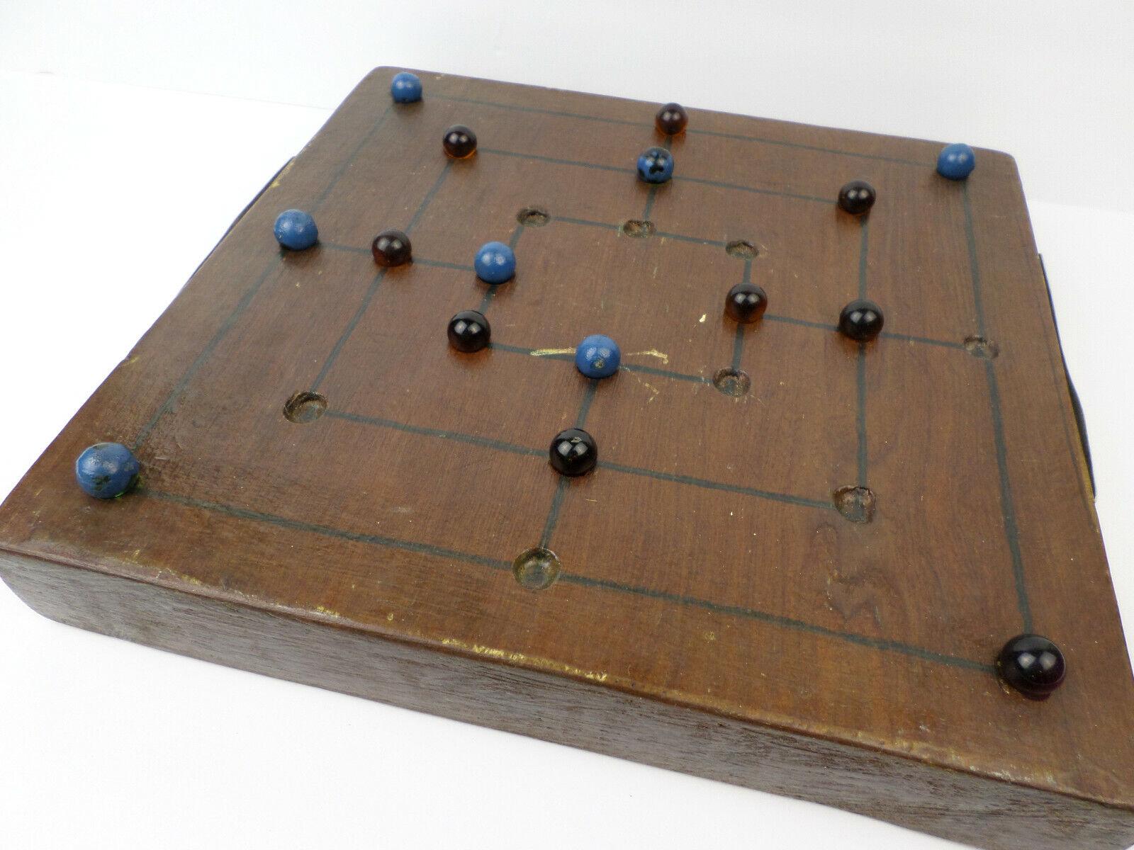 Vintage Hefatto Wooden Marble tavola gioco   Nine Men Morris, Mill, Shepard's gioco  più economico