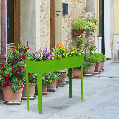 Outsunny Elevated Flower Bed Raised Vegetable Planter Herb Box Plant Kit 3 Hole