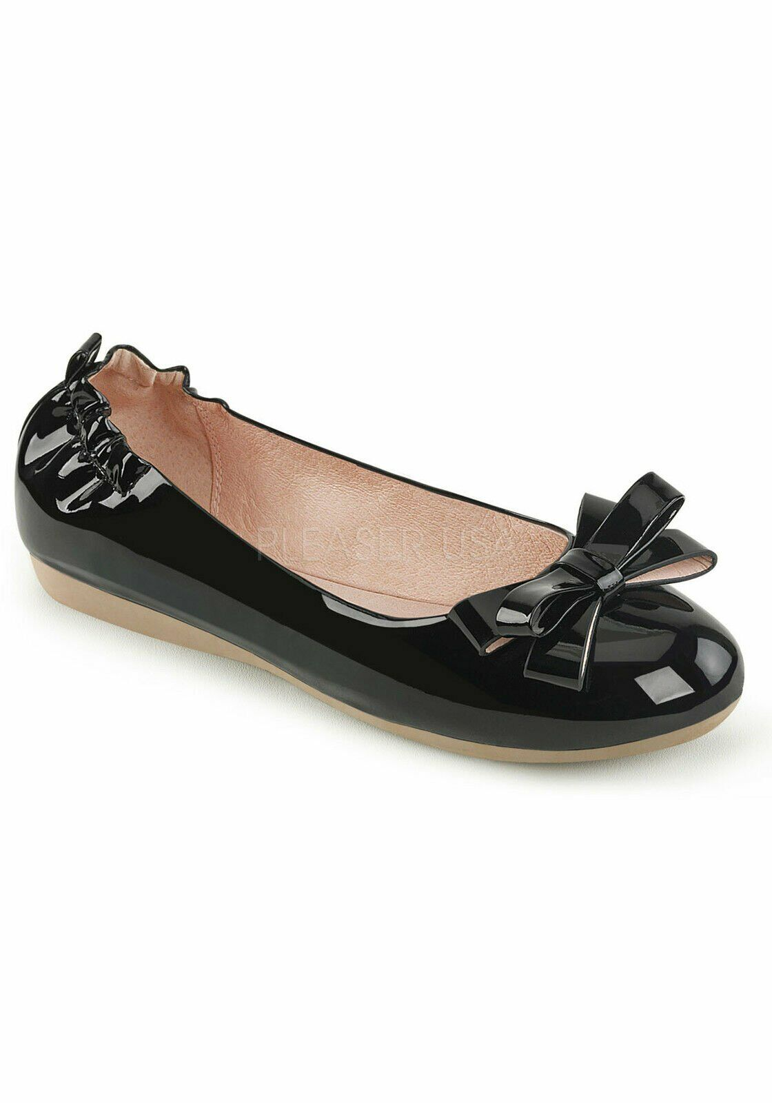 Pin Up Couture OLIVE-03 Round Toe Foldable Flats With Bow