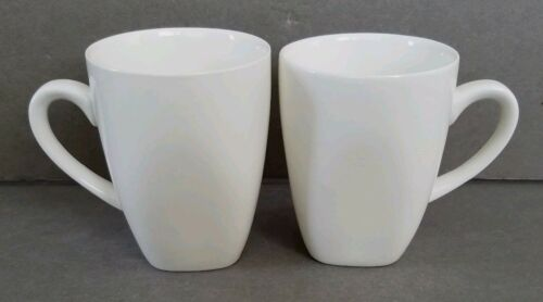 10 STRAWBERRY STREET Set of 2 10 oz White Coffee Mugs Square Bottom MINT
