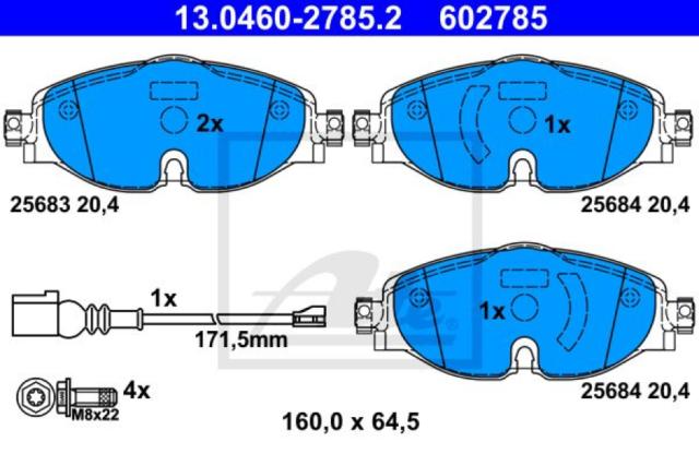 Bremsbelagsatz, Scheibenbremse für Bremsanlage Vorderachse ATE 13.0460-2785.2