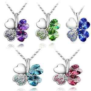 Women-Happiness-Clover-Four-Leaf-Crystal-Pendant-Chain-Necklace-Jewelry-Gift-New