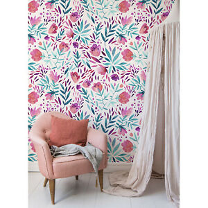 Removable-wallpaper-Purple-vintage-flowers-Peel-and-stick-Self-adhesive-Floral