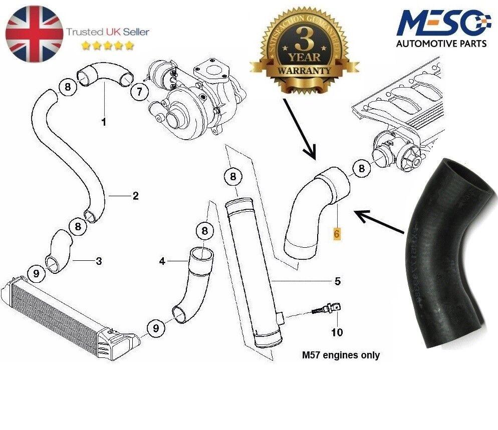 11617799389 BMW E46 330d moteurs M57 EGR pour intercooler Pression Tuyau Febi