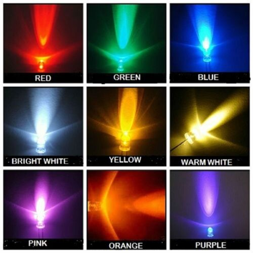 Super Bright 3mm 5mm LEDs Red,Yellow,Orange,Blue,White,Green,Pink,WarmWhite,U//V