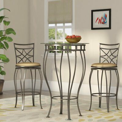 Modern Pub Table Set Elegant Tall 3 Piece Bistro Glass Top Bronze Finish Stools Ebay