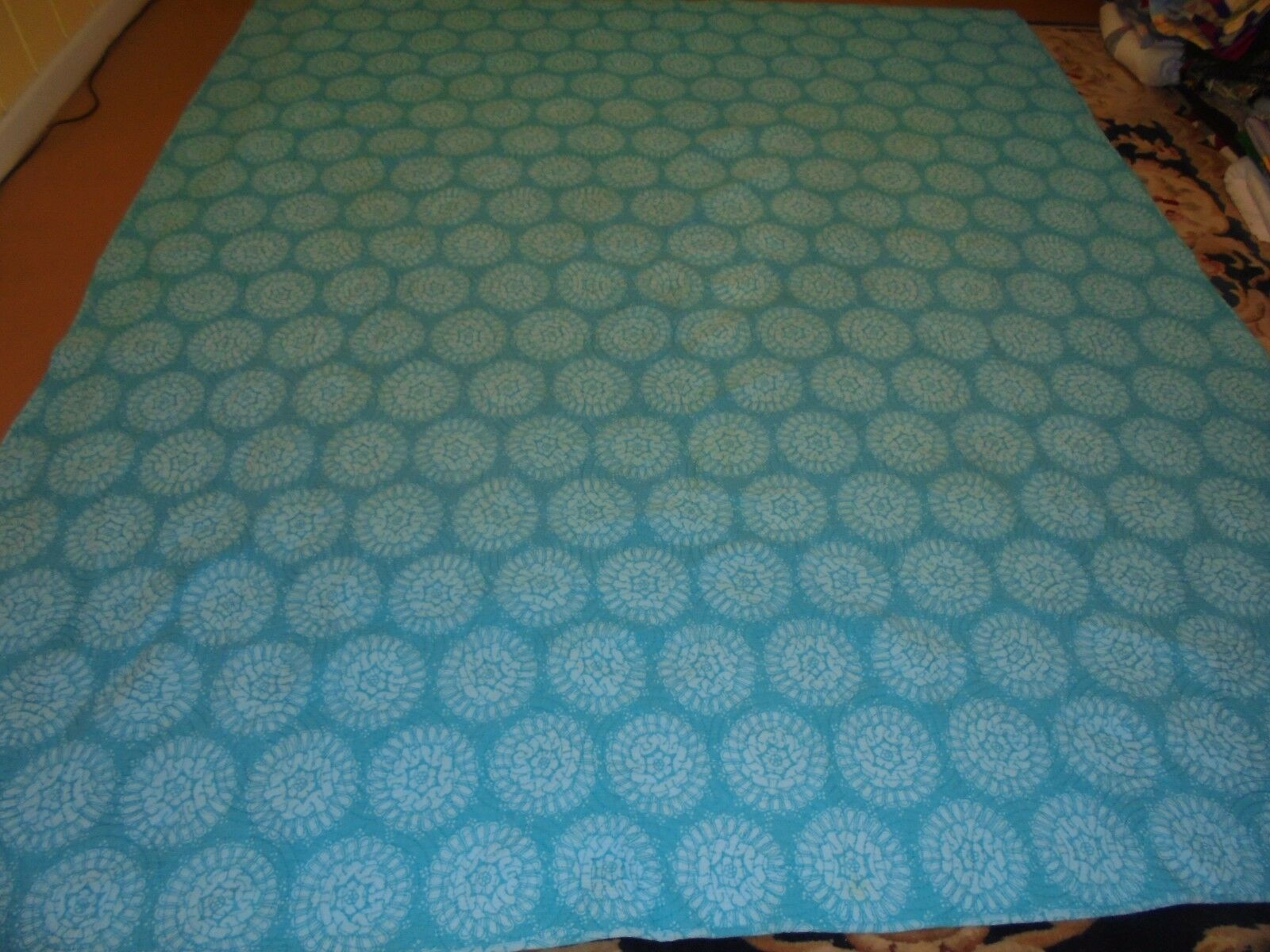 Nice Handmade Light Blau Printed Whole Cloth Abstract Pattern Quilt