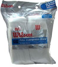 Wilson Crew Socks 10 Pairs Size 6 - 11 Euro 39 - 46 Sports Tennis Etc White