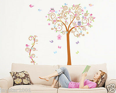 Wall Stickers Colorful Trees, Lovely Birds and Owls Wall Stickers Children Room