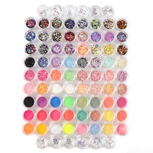 84x Mix Colors Pots Nail Art Acrylic Glitter Effect Powder Dust Sequins Tips