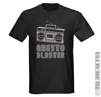 GHETTO BLASTER T-Shirt - Retro 80's Old School hip hop RAP 90's boombox beatbox