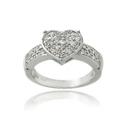 925 Silver 1/4ct Diamond Heart Promise Ring