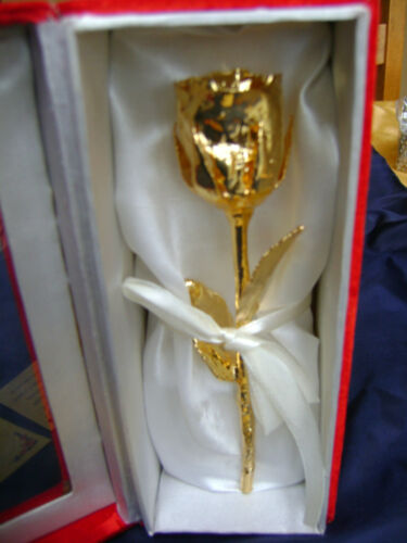 """anniversaire or 24k Trempé 6 /""""real rose white satin /& red box mariage Anniversaire"""