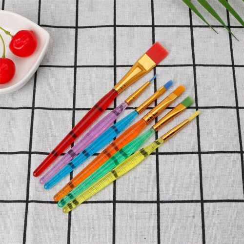6 Colorful Child Flexible Paint Brushes Nail Brush Artist Supplies Drawing Brush