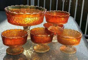 Dugan-Carnival-Glass-Marigold-Maple-Leaf-Berry-Bowl-6-Piece-Set