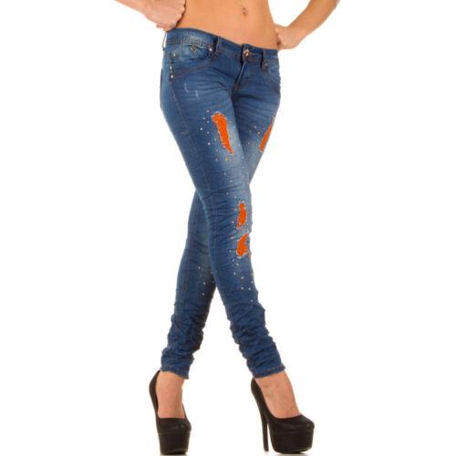 Jeans stretto pantalone SKINNY DONNA strappi colorati NUOVO