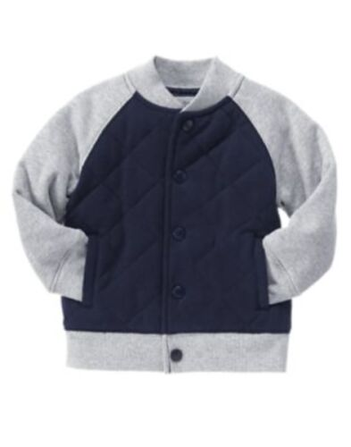 GYMBOREE HOMETOWN HERO NAVY QUILTED VARSITY JACKET 6 12 24 2T 3T 4T 5T NWT