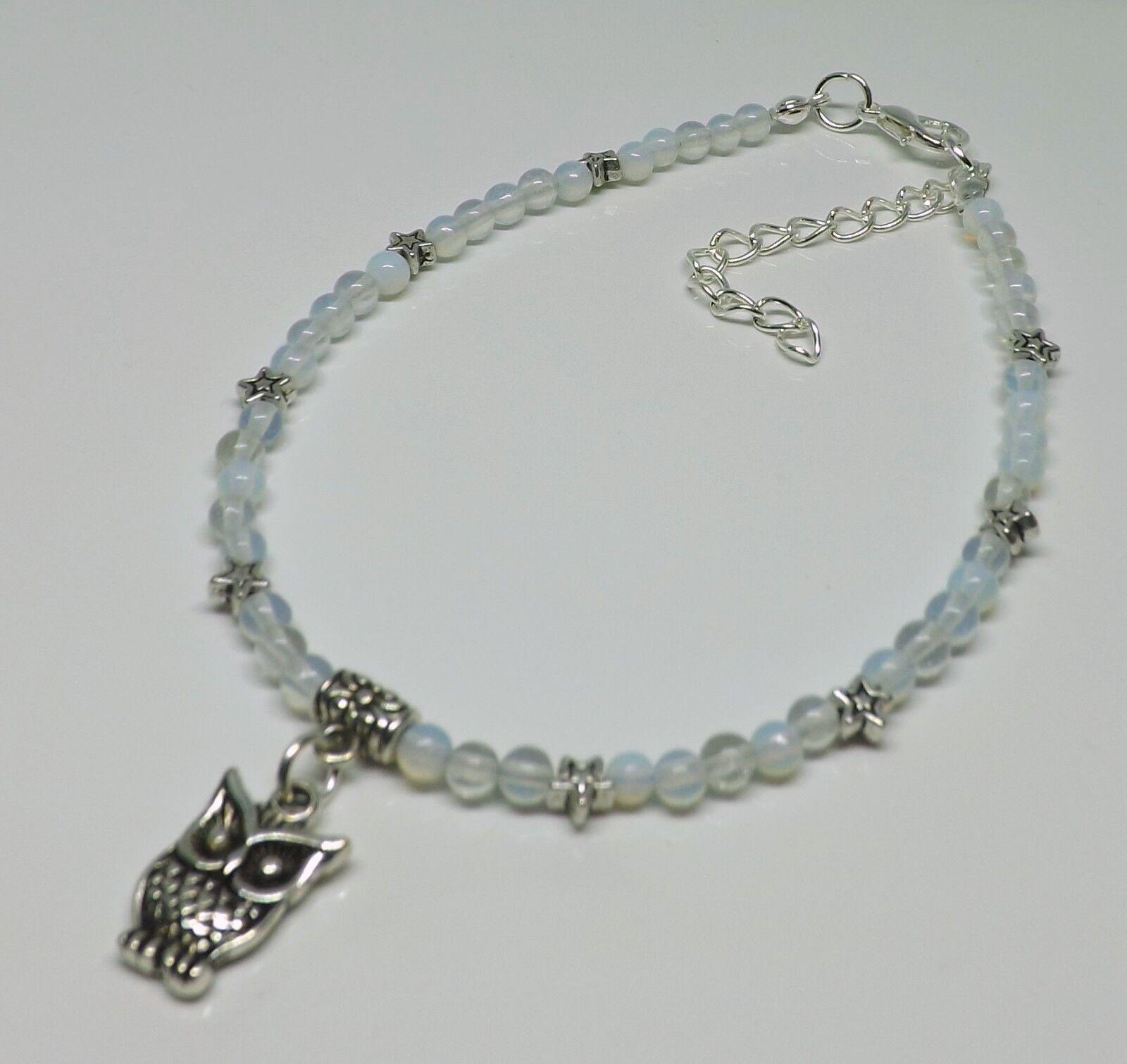 Moonstone 4mm Gemstone Beads Owl Charm