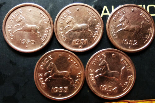 KM # 1 FREE S//.H 1950 TO 1954 FIVE COINS YEAR WISE India-republic Pice