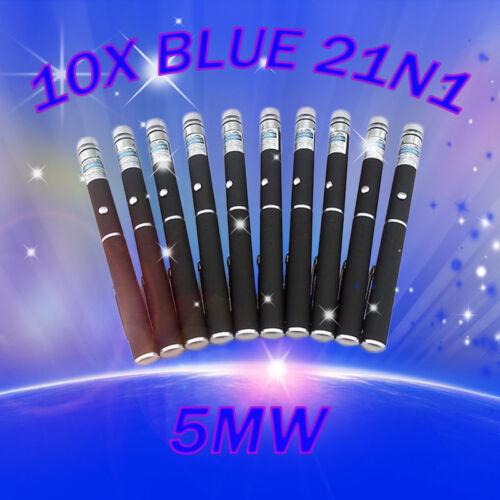 10pcs 2in1 Blue//Violet Laser Pointer Pen 405nm Visible Beam Light Lazer Star Cap