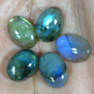 100-Natural-Oval-Shape-Fire-Labradorite-Cabochon-Losse-Gemstone-MM-Size-Lot