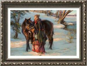 Hand-painted-Oil-painting-art-Original-Impressionism-girl-horse-on-Canvas