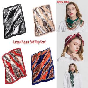 Femmes carré soie douce écharpe foulard léopard chaîne châle ... 91020a7fdf5