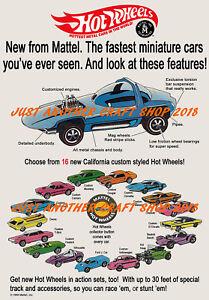 Hot-Wheels-Redline-1968-Poster-Advert-Shop-Sign-Leaflet-Flyer-Large-A3-Size