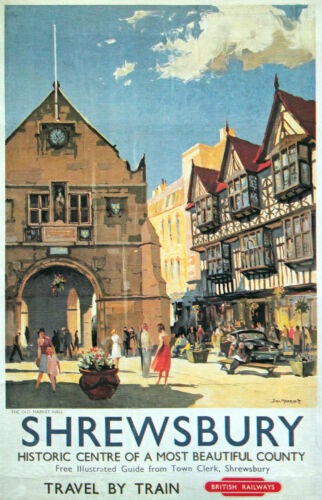 SHREWSBURY British Rail Vintage Railway Poster 3 A1,A2,A3,A4 Sizes