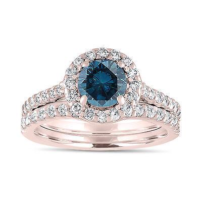 Rose Gold Enhanced Blue Diamond Engagement Ring Set, Wedding Set 1.84 Carat Pave