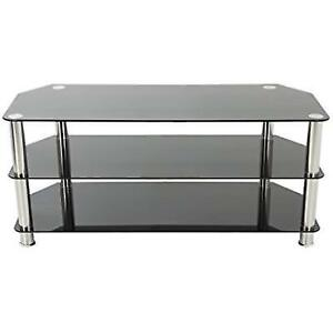 Avf Sdc1000 A Tv Stand For Up To 50 Inch Tvs Black Glass Chrome Legs