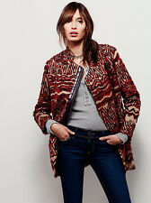 NWT $498 Free People Red Patterned Fur Asymmetric Wool Tribal Burnt Combo Coat,L