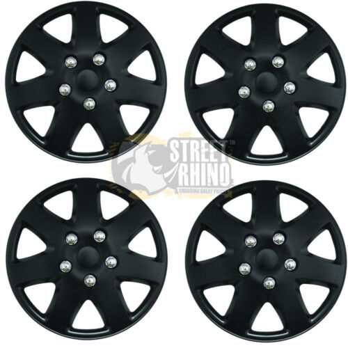 "Smart ForFour 15/"" Stylish Black Tempest Wheel Cover Hub Caps x4"