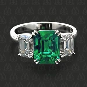 925 Sterling Silver Cz Ring Green Radiant and White Emerald Gift New ring Size 6