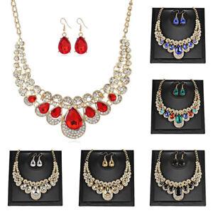 Women-Luxury-Rhinestone-Drop-Earrings-Choker-Bib-Necklace-Set-Statement-Jewelry
