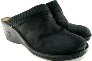 UGG-women-Mule-Suede-Leather-Shoes-Size-9-Black-2-4-Inch-Heels-Faux-Fur-Lined