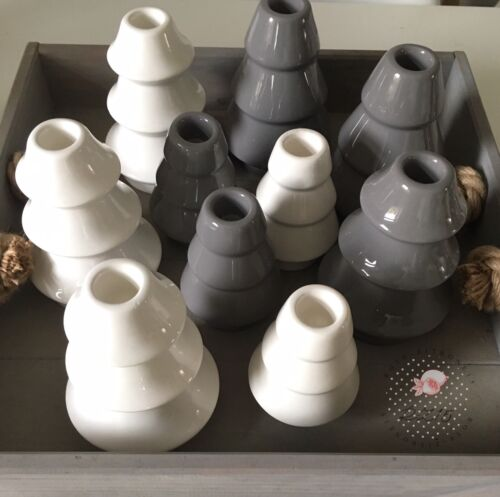 2 Kerzenständer Tannenbaum Keramik grau shabby Kerzenhalter Landhaus Neu