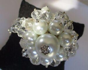 Ravissement Bracelet Perle Cristal Facettes Perles Nacrées Décor Central Bijou Vintage 423