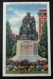 Vintage Tichnor Linen Postcard Statue of Nathaniel Hawthorne Salem Massachusetts