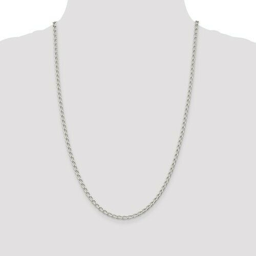 Details about  /925 Sterling Silver Rhodium Plated 3.2mm Open Link Chain Anklet; 10 inch