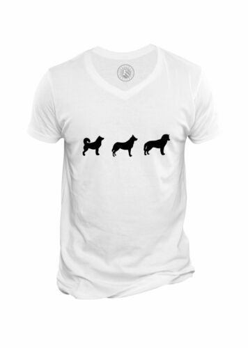 T-shirt Homme Col V Silhouttes de Chiens Animaux Dometiques